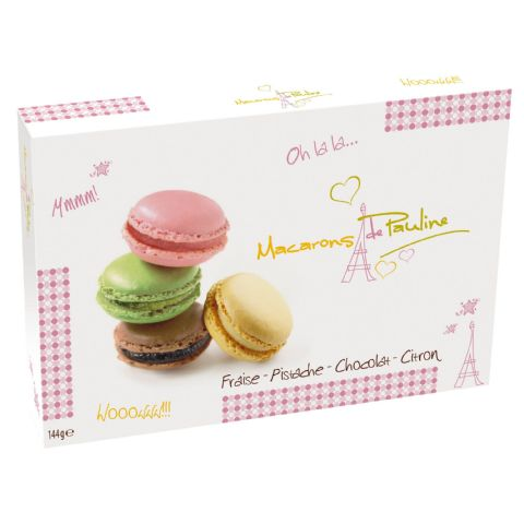 Strawberry Pistachio Chocolate Lemon Macarons de Pauline Gift Box d'Haubry 144g (Pack of 12)